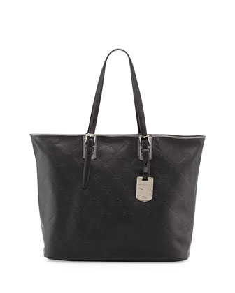 LM Cuir Leather Shoulder Tote Bag, Black