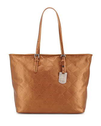 LM Cuir Metallic Shoulder Tote Bag, Copper