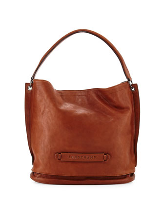 3D Leather Hobo Bag, Cognac