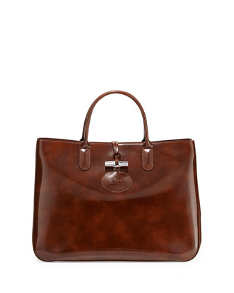 Roseau Large Patent Box Tote Bag, Wood