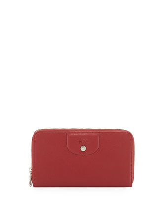 Le Pliage Cuir Zip Wallet, Red