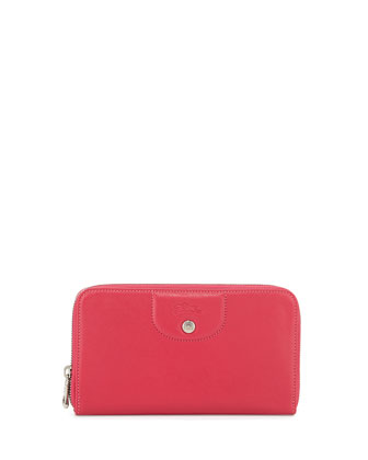 Le Pliage Cuir Zip-Around Leather Wallet, Candy