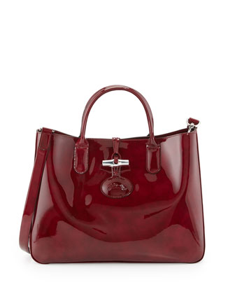 Roseau Medium Patent Box Tote Bag, Ruby