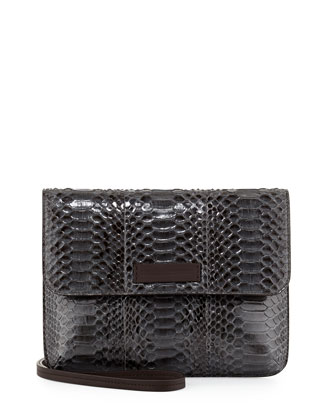 Python Flap-Top Crossbody Bag, Gray