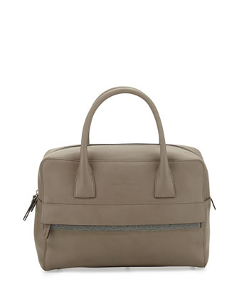 Monili-Trim Leather Zip Satchel Bag, Taupe
