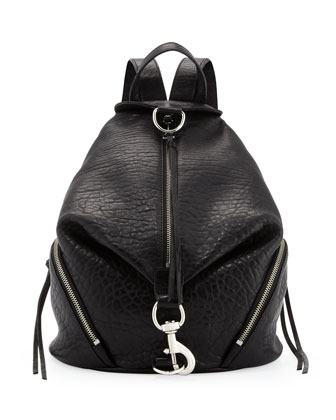 Julian Zipper-Trim Leather Backpack, Black