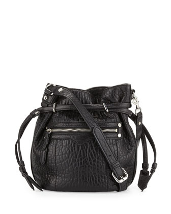 Mini Harley Leather Bucket Bag, Black