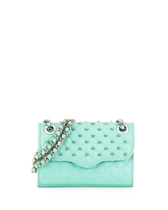 Quilted Affair Studded Mini Shoulder Bag, Minty