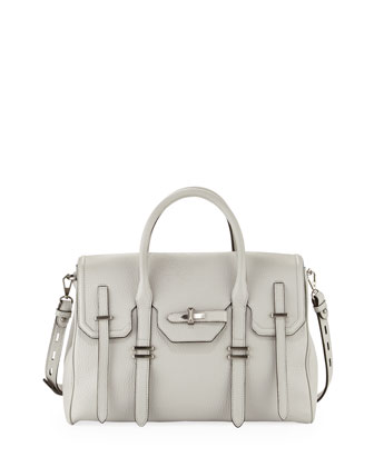 Jules Pebbled Leather Satchel Bag, Pale Gray