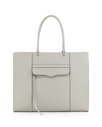 MAB Leather Tote Bag, Pale Gray
