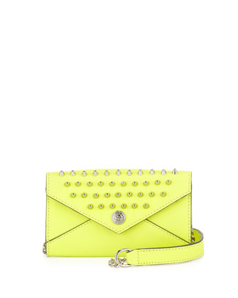 Mini Spiked Wallet-on-a-Chain Bag, Acid Yellow