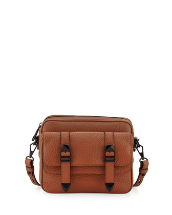 Jules Pebbled Leather Crossbody Bag, Almond