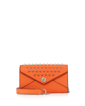 Mini Spiked Wallet-on-a-Chain Bag, Orange