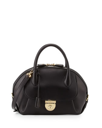 Fiamma Domed Satchel Bag, Nero