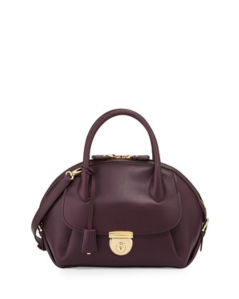 Fiamma Domed Satchel Bag, Plum