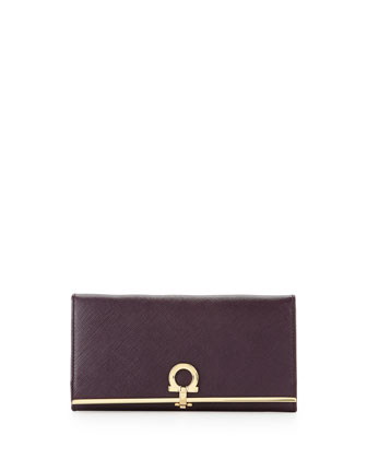 Icona Continental Flap Wallet, Plum