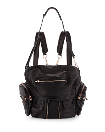 Marti Soft-Wash Lambskin Backpack, Black