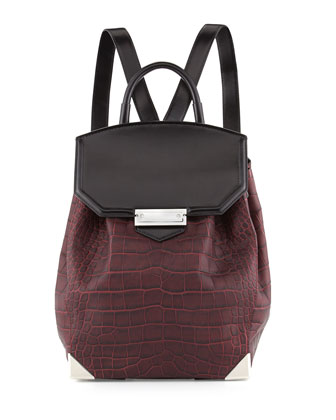 Prisma Croco-Embossed Flat-Bottom Backpack, Beet