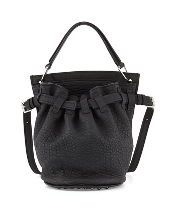 Diego Rivet Flat-Bottom Lambskin Bucket Bag, Black