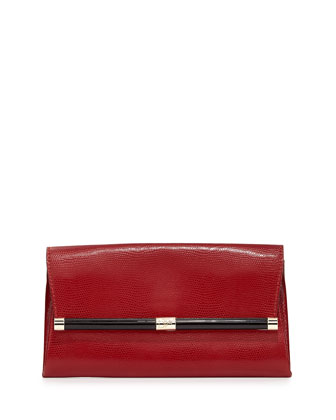 440 Lizard-Print Leather Clutch Bag, Classic Red
