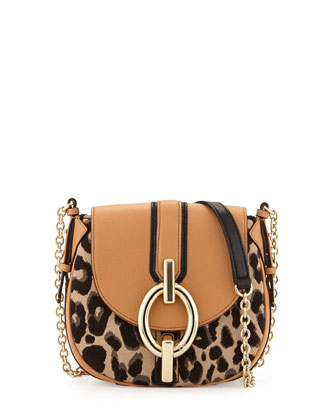 Sutra Mini Leopard-Print Crossbody Bag, Sandalwood