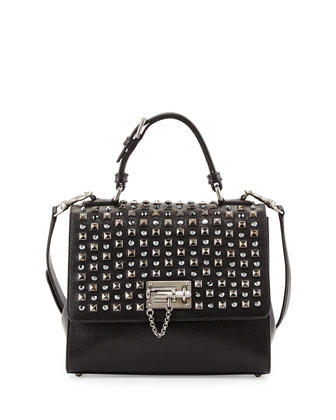 Monica Studded Lock Satchel Bag, Black