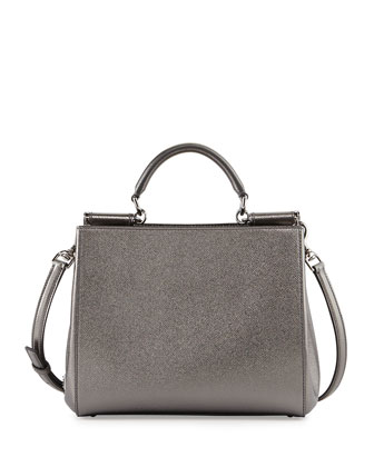 Miss Sicily Medium Shopper Bag, Gray Metallic