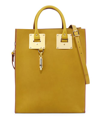 Buckled Leather Tote Bag, Olive