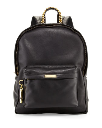 Calfskin Leather Rucksack, Black