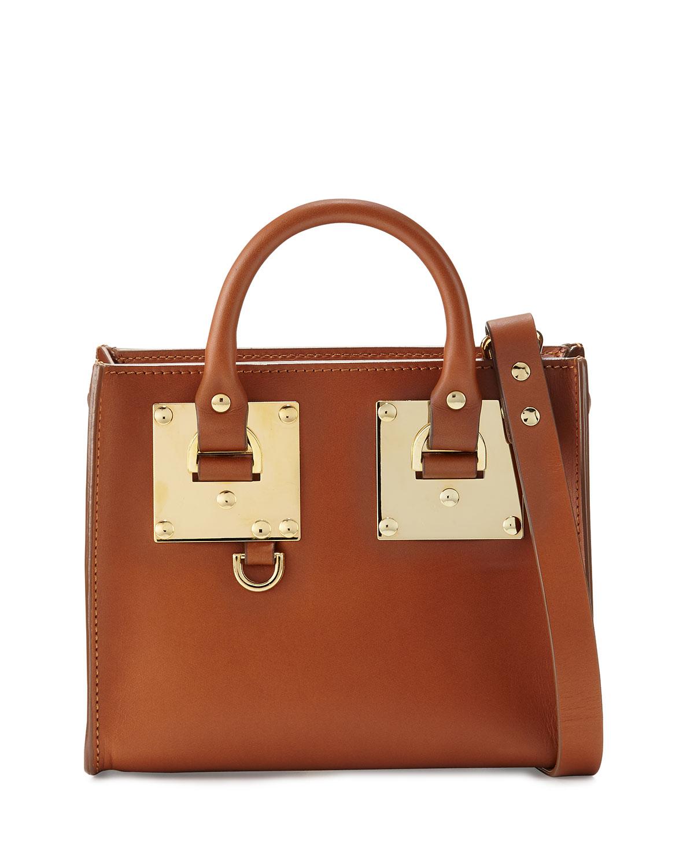 Buckled Leather Box Tote Bag, Tan - Sophie Hulme
