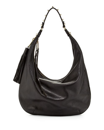 Bailey Tassel Hobo Bag, Black