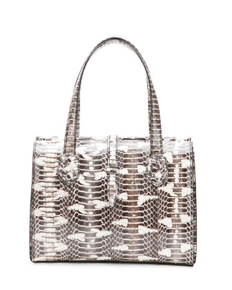 Snakeskin Belted Tote Bag, White