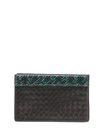 Small Intrecciato Clutch Bag, Black/Green