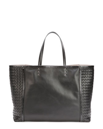 Medium Snake & Napa Tote Bag, Black