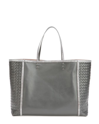 Medium Snake & Napa Tote Bag, Charcoal