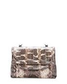 Medium Snakeskin Flap Shoulder Bag