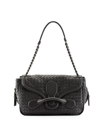 Intreccio Medium Flap Shoulder Bag, Charcoal