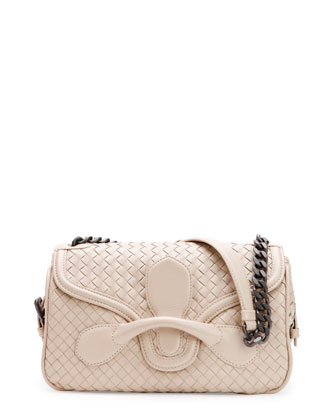 Medium Intrecciato Flap Shoulder Bag, Off White