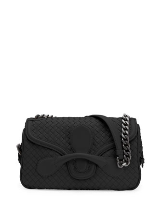 Intrecciato Rialto Shoulder Bag, Black