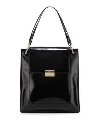 Christy Calfskin Shopper Tote Bag, Black