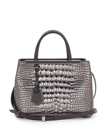 2Jours Croc-Print Mini Tote Bag, Silver Mirror