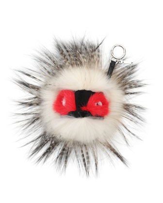Fur Monster Charm for Handbag, White/Red