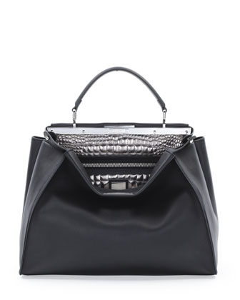Peekaboo Large Croc-Stitched Satchel Bag, Black/Silver