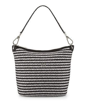 Dame Bucket Shoulder Bag, Silver/Black