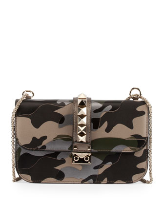 Camo Glam Lock Rockstud Medium Flap Bag