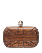 Britannia Wooden Skull Box Clutch