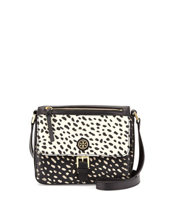 Kerrington Spotted Vinyl Mini Crossbody Bag, Black/White