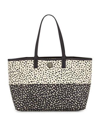 Kerrington Two-Tone Printed Shopper Tote Bag, Dotted Pony