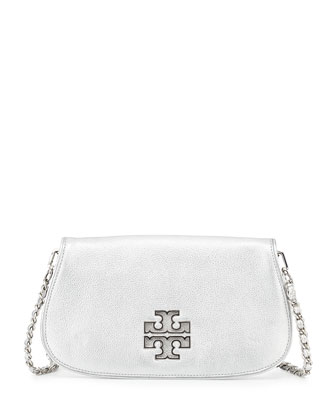 Britten Metallic Clutch Bag, Silver