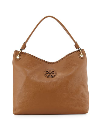 Marion Leather Hobo Bag, Royal Tan
